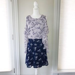 Purple Floral A Line Dress